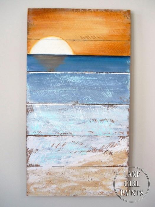 Vertical Sunset Beach Art
